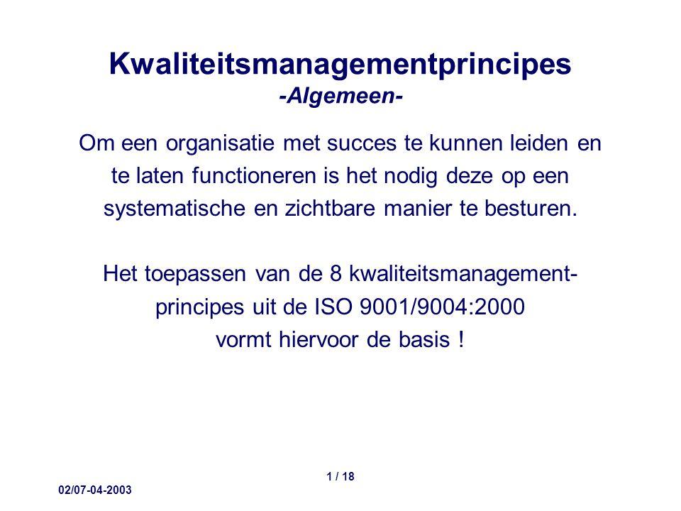 02/07-04-2003 1 / 18 Kwaliteitsmanagementprincipes -Algemeen- Om een organisatie met succes te kunnen leiden en te laten functioneren is het nodig deze op een systematische en zichtbare manier te besturen.