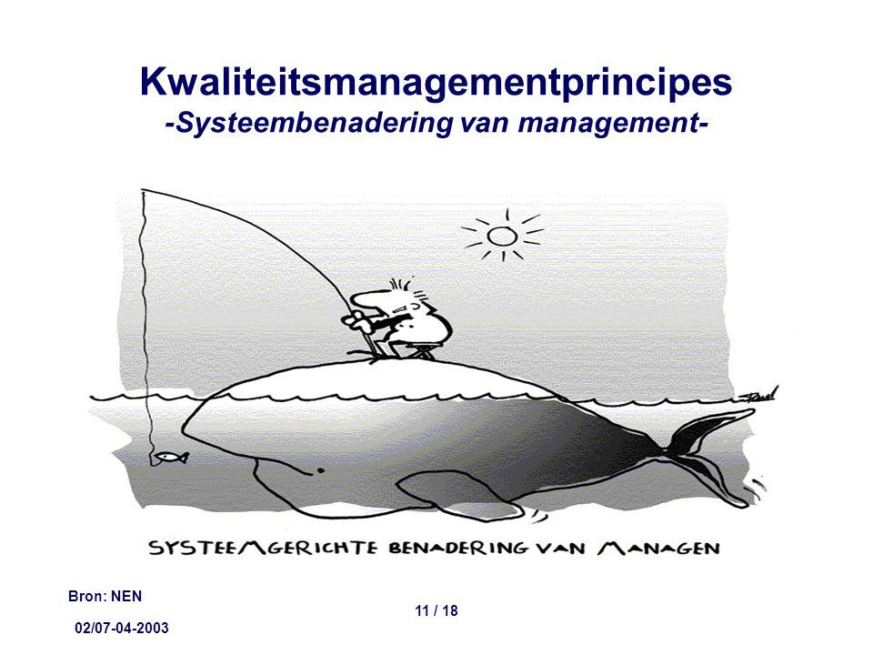 02/07-04-2003 11 / 18 Kwaliteitsmanagementprincipes -Systeembenadering van management- Bron: NEN
