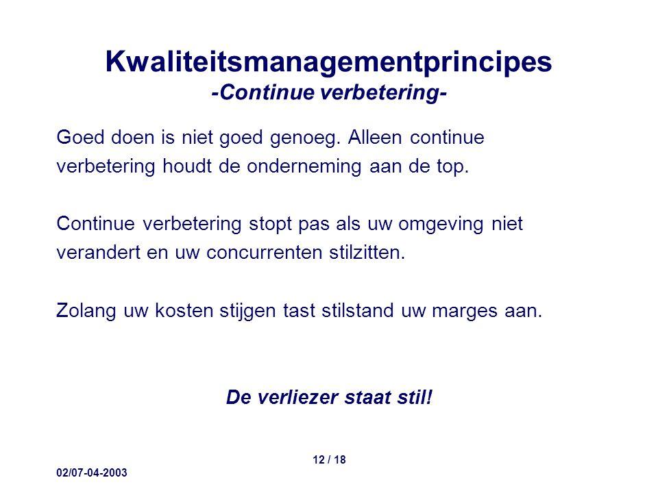 02/07-04-2003 12 / 18 Kwaliteitsmanagementprincipes -Continue verbetering- Goed doen is niet goed genoeg.