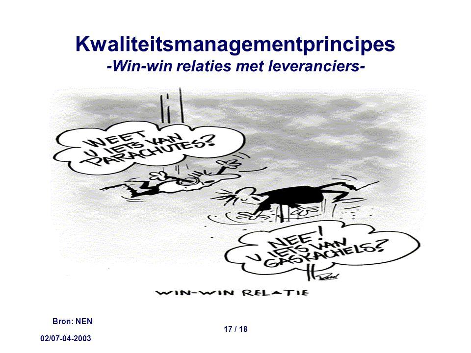 02/07-04-2003 17 / 18 Kwaliteitsmanagementprincipes -Win-win relaties met leveranciers- Bron: NEN