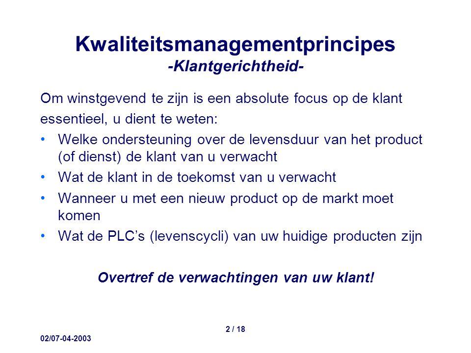 02/07-04-2003 2 / 18 Kwaliteitsmanagementprincipes -Klantgerichtheid- Om winstgevend te zijn is een absolute focus op de klant essentieel, u dient te weten: Welke ondersteuning over de levensduur van het product (of dienst) de klant van u verwacht Wat de klant in de toekomst van u verwacht Wanneer u met een nieuw product op de markt moet komen Wat de PLC's (levenscycli) van uw huidige producten zijn Overtref de verwachtingen van uw klant!