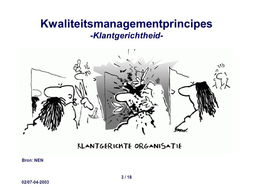 02/07-04-2003 3 / 18 Kwaliteitsmanagementprincipes -Klantgerichtheid- Bron: NEN