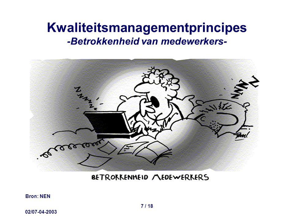 02/07-04-2003 7 / 18 Kwaliteitsmanagementprincipes -Betrokkenheid van medewerkers- Bron: NEN