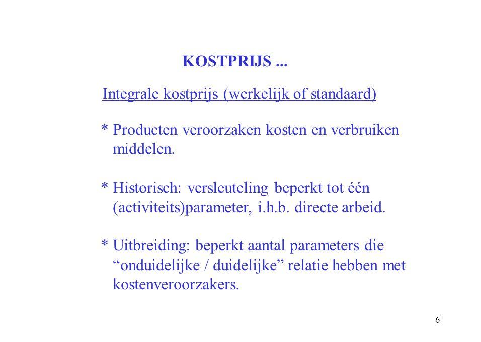 6 KOSTPRIJS... Integrale kostprijs (werkelijk of standaard) * Producten veroorzaken kosten en verbruiken middelen. * Historisch: versleuteling beperkt