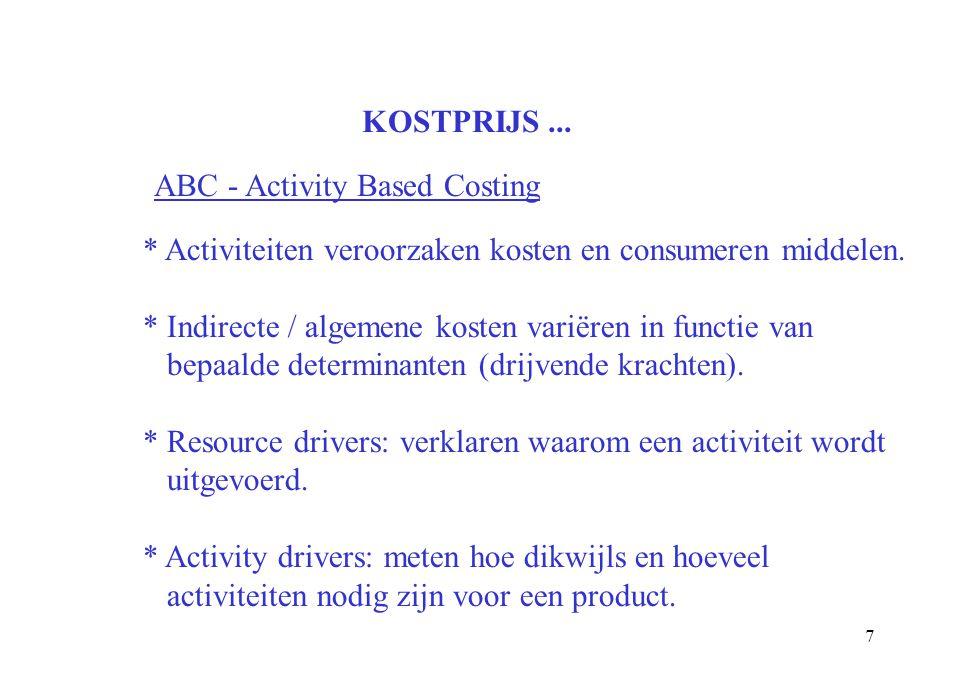 7 KOSTPRIJS... ABC - Activity Based Costing * Activiteiten veroorzaken kosten en consumeren middelen. * Indirecte / algemene kosten variëren in functi