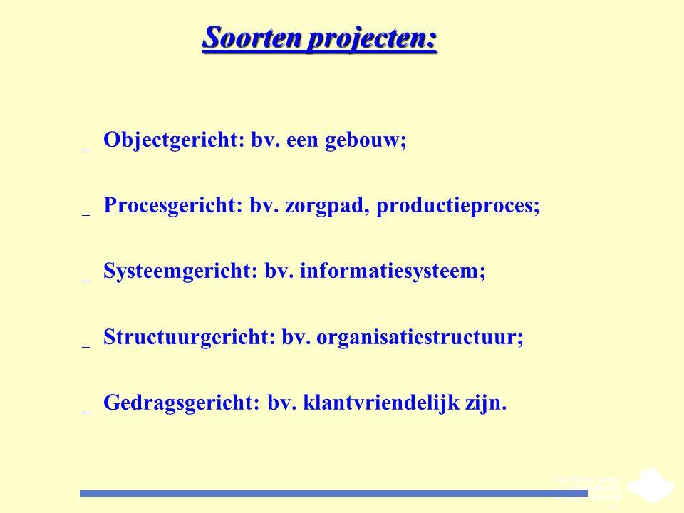 Soorten projecten: _ Objectgericht: bv. een gebouw; _ Procesgericht: bv. zorgpad, productieproces; _ Systeemgericht: bv. informatiesysteem; _ Structuu