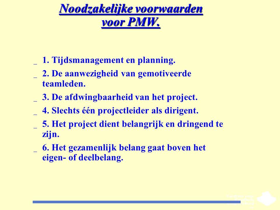 Noodzakelijke voorwaarden voor PMW. _ 1. Tijdsmanagement en planning. _ 2. De aanwezigheid van gemotiveerde teamleden. _ 3. De afdwingbaarheid van het