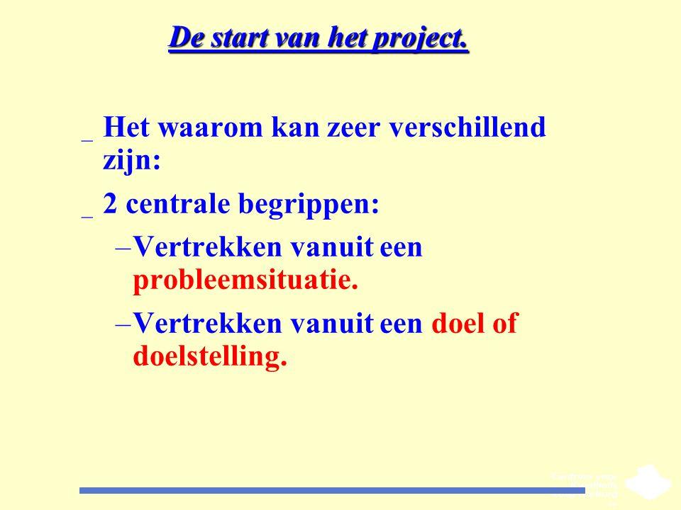 De start van het project. _ Het waarom kan zeer verschillend zijn: _ 2 centrale begrippen: –Vertrekken vanuit een probleemsituatie. –Vertrekken vanuit