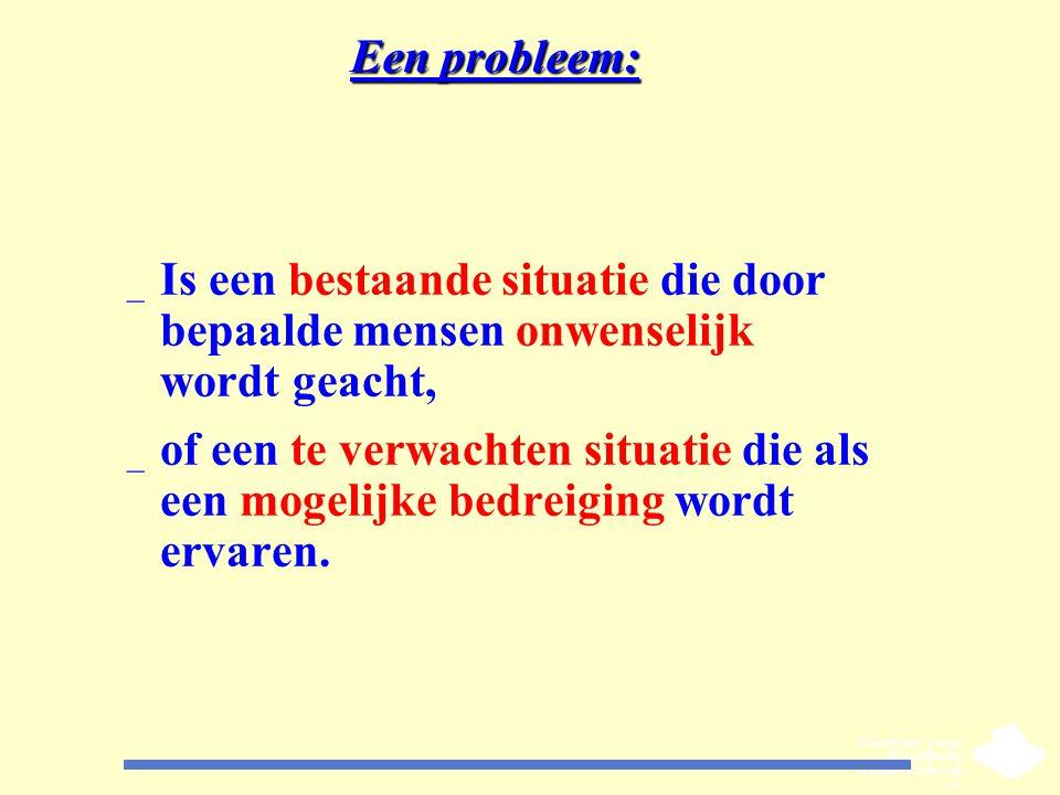 Een probleem: _ Is een bestaande situatie die door bepaalde mensen onwenselijk wordt geacht, _ of een te verwachten situatie die als een mogelijke bed