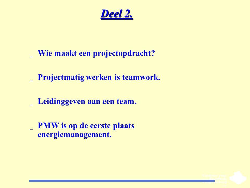 Deel 2. _ Wie maakt een projectopdracht? _ Projectmatig werken is teamwork. _ Leidinggeven aan een team. _ PMW is op de eerste plaats energiemanagemen