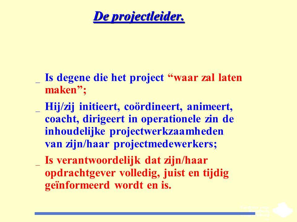 """De projectleider. _ Is degene die het project """"waar zal laten maken""""; _ Hij/zij initieert, coördineert, animeert, coacht, dirigeert in operationele zi"""