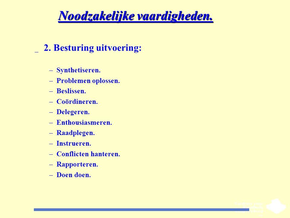 Noodzakelijke vaardigheden. _ 2. Besturing uitvoering: –Synthetiseren. –Problemen oplossen. –Beslissen. –Coördineren. –Delegeren. –Enthousiasmeren. –R