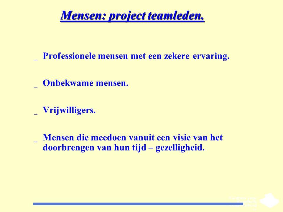 Mensen: project teamleden. _ Professionele mensen met een zekere ervaring. _ Onbekwame mensen. _ Vrijwilligers. _ Mensen die meedoen vanuit een visie