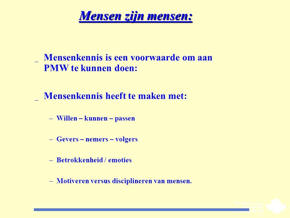 Mensen zijn mensen: _ Mensenkennis is een voorwaarde om aan PMW te kunnen doen: _ Mensenkennis heeft te maken met: –Willen – kunnen – passen –Gevers –