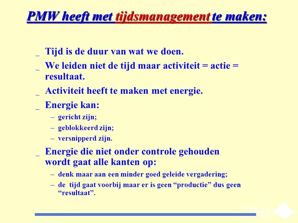 PMW heeft met tijdsmanagement te maken: _ Tijd is de duur van wat we doen. _ We leiden niet de tijd maar activiteit = actie = resultaat. _ Activiteit
