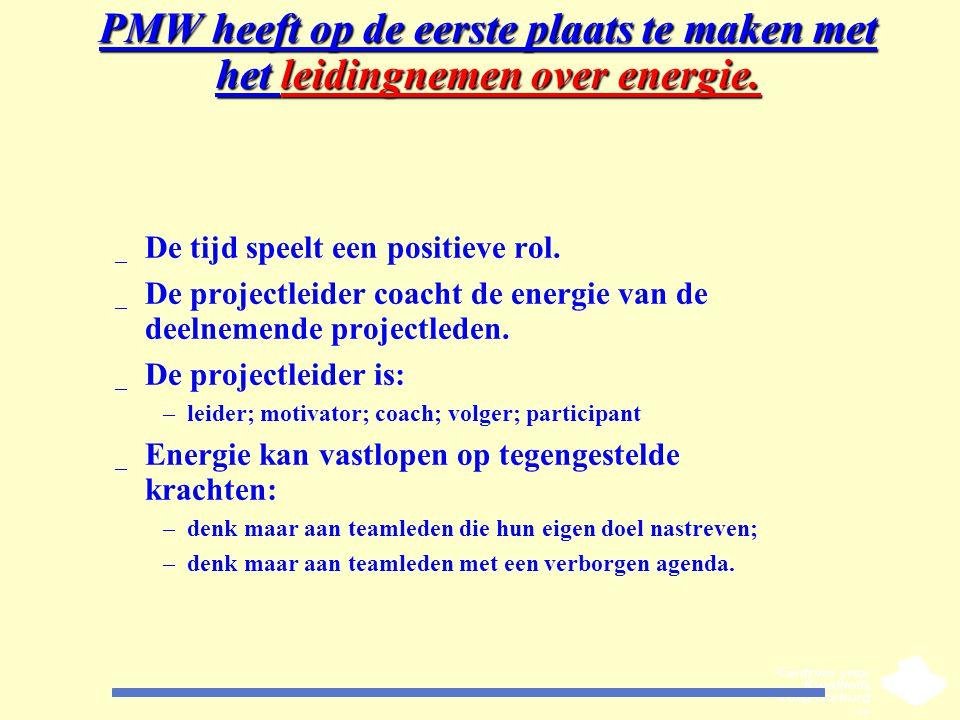 PMW heeft op de eerste plaats te maken met het leidingnemen over energie. _ De tijd speelt een positieve rol. _ De projectleider coacht de energie van