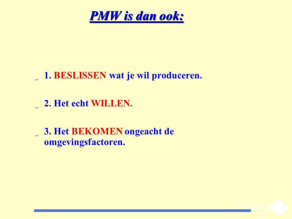 PMW is dan ook: _ 1. BESLISSEN wat je wil produceren. _ 2. Het echt WILLEN. _ 3. Het BEKOMEN ongeacht de omgevingsfactoren.