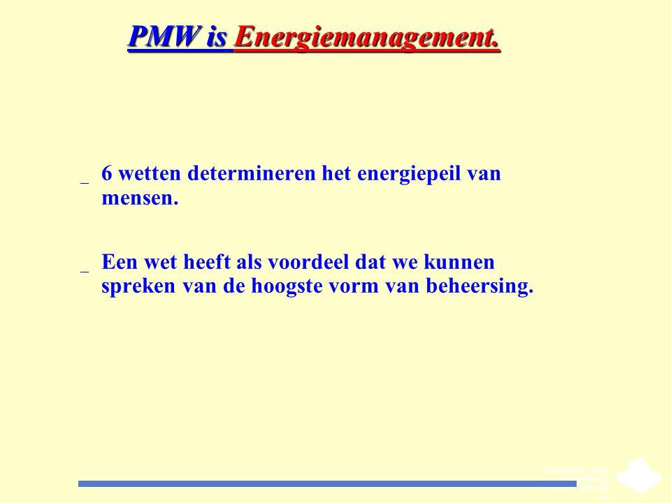 PMW is Energiemanagement. _ 6 wetten determineren het energiepeil van mensen. _ Een wet heeft als voordeel dat we kunnen spreken van de hoogste vorm v