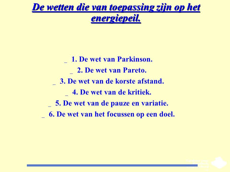 De wetten die van toepassing zijn op het energiepeil. _ 1. De wet van Parkinson. _ 2. De wet van Pareto. _ 3. De wet van de korste afstand. _ 4. De we