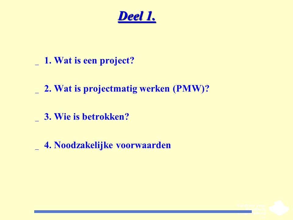 Deel 1. _ 1. Wat is een project? _ 2. Wat is projectmatig werken (PMW)? _ 3. Wie is betrokken? _ 4. Noodzakelijke voorwaarden