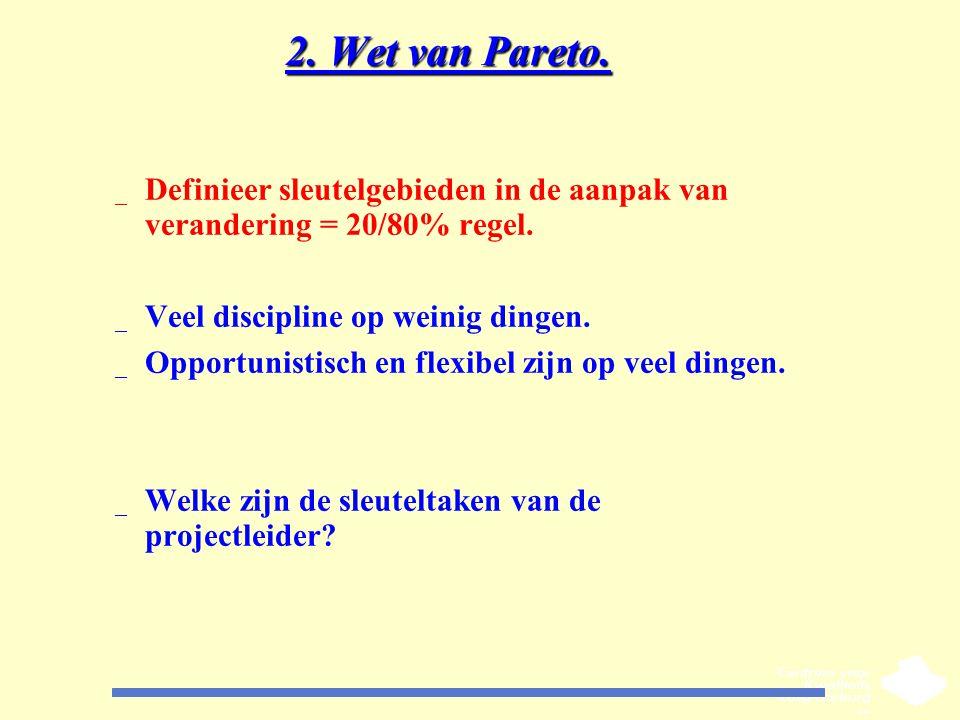 2. Wet van Pareto. _ Definieer sleutelgebieden in de aanpak van verandering = 20/80% regel. _ Veel discipline op weinig dingen. _ Opportunistisch en f