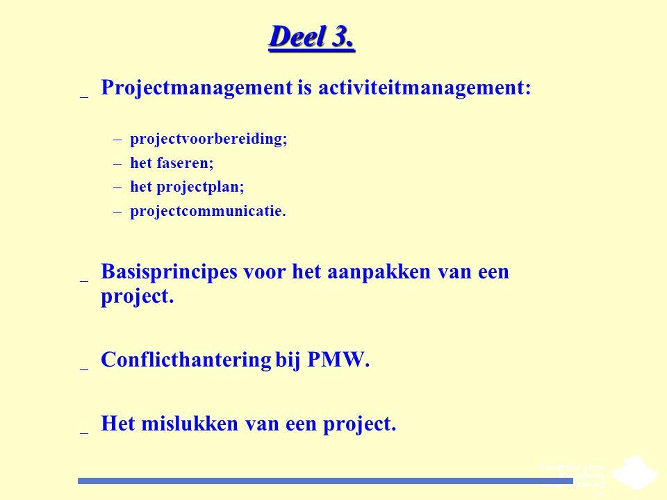 Deel 3. _ Projectmanagement is activiteitmanagement: –projectvoorbereiding; –het faseren; –het projectplan; –projectcommunicatie. _ Basisprincipes voo