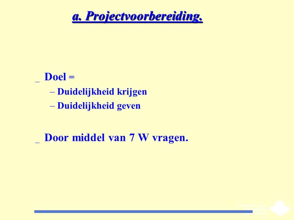 a. Projectvoorbereiding. _ Doel = –Duidelijkheid krijgen –Duidelijkheid geven _ Door middel van 7 W vragen.