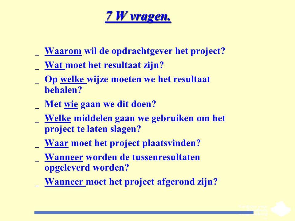 7 W vragen. _ Waarom wil de opdrachtgever het project? _ Wat moet het resultaat zijn? _ Op welke wijze moeten we het resultaat behalen? _ Met wie gaan