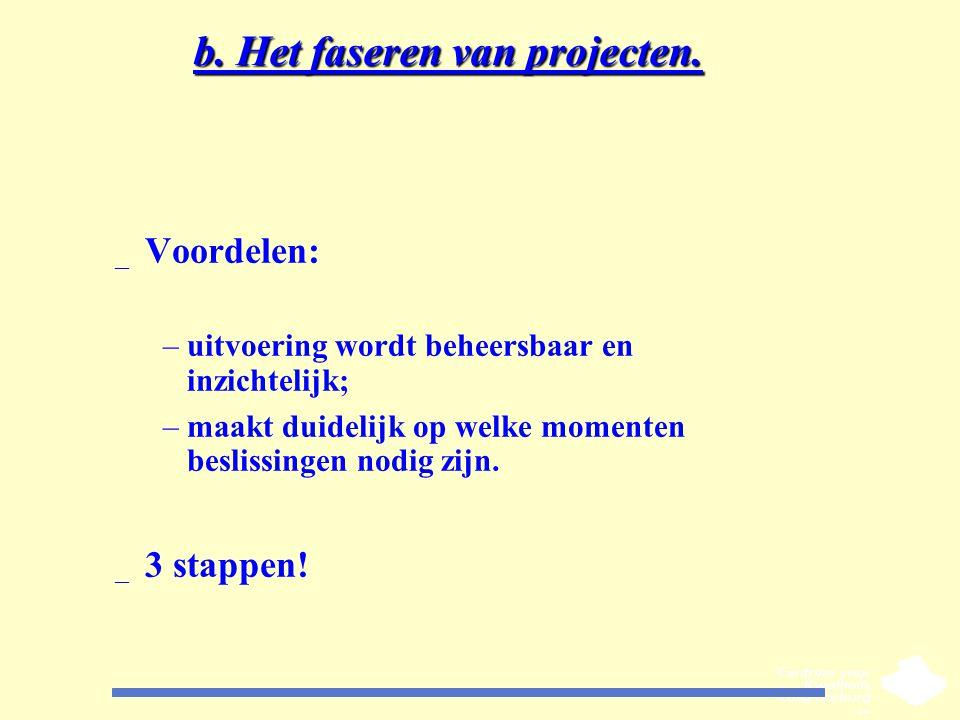 b. Het faseren van projecten. _ Voordelen: –uitvoering wordt beheersbaar en inzichtelijk; –maakt duidelijk op welke momenten beslissingen nodig zijn.