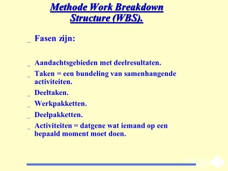 Methode Work Breakdown Structure (WBS). _ Fasen zijn: _ Aandachtsgebieden met deelresultaten. _ Taken = een bundeling van samenhangende activiteiten.
