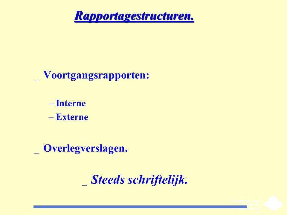 Rapportagestructuren. _ Voortgangsrapporten: –Interne –Externe _ Overlegverslagen. _ Steeds schriftelijk.