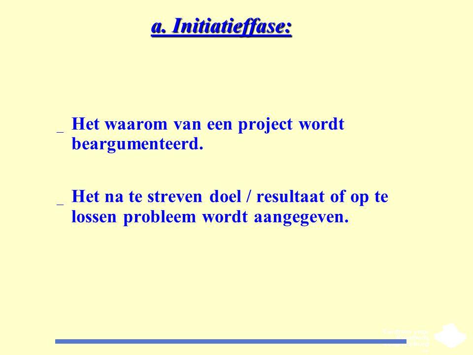 a. Initiatieffase: _ Het waarom van een project wordt beargumenteerd. _ Het na te streven doel / resultaat of op te lossen probleem wordt aangegeven.