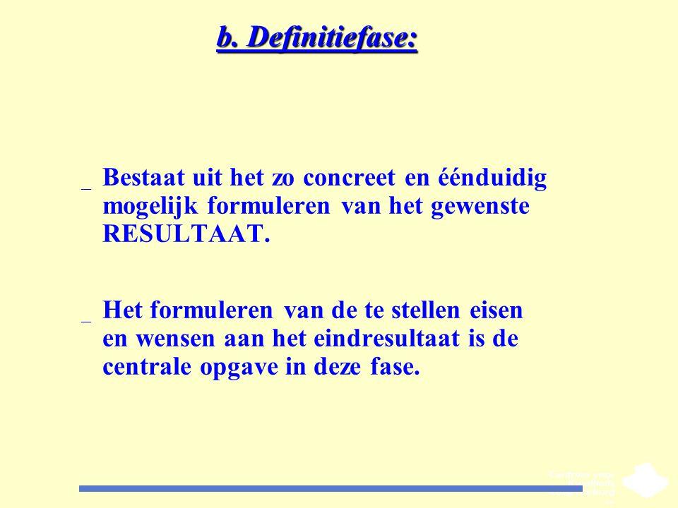 b. Definitiefase: _ Bestaat uit het zo concreet en éénduidig mogelijk formuleren van het gewenste RESULTAAT. _ Het formuleren van de te stellen eisen