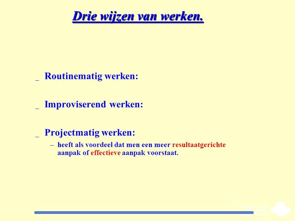 Drie wijzen van werken. _ Routinematig werken: _ Improviserend werken: _ Projectmatig werken: –heeft als voordeel dat men een meer resultaatgerichte a