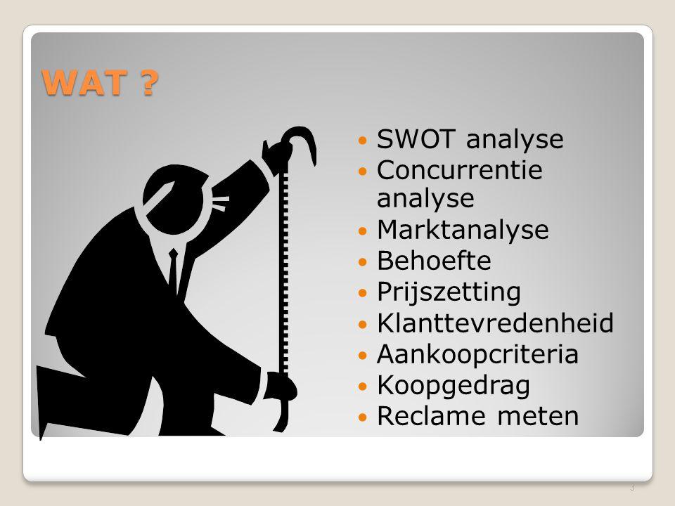 WAT ? SWOT analyse Concurrentie analyse Marktanalyse Behoefte Prijszetting Klanttevredenheid Aankoopcriteria Koopgedrag Reclame meten 3