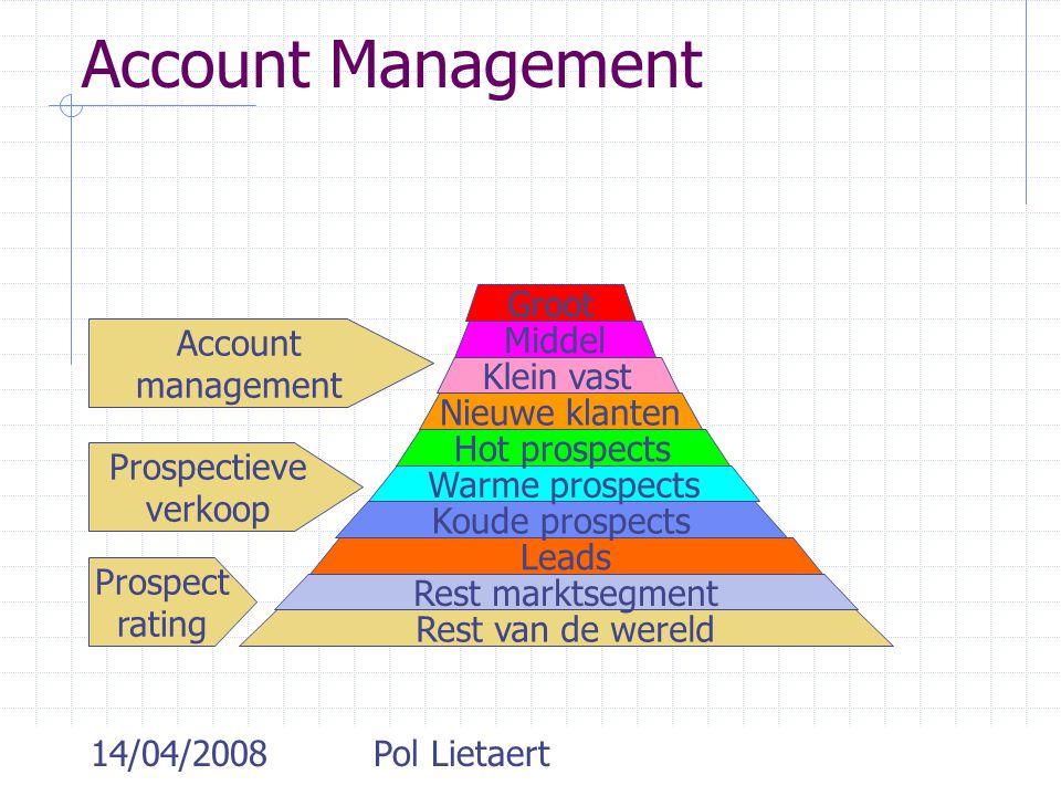 14/04/2008Pol Lietaert Account Management Rest van de wereld Rest marktsegment Leads Koude prospects Warme prospects Hot prospects Nieuwe klanten Klei