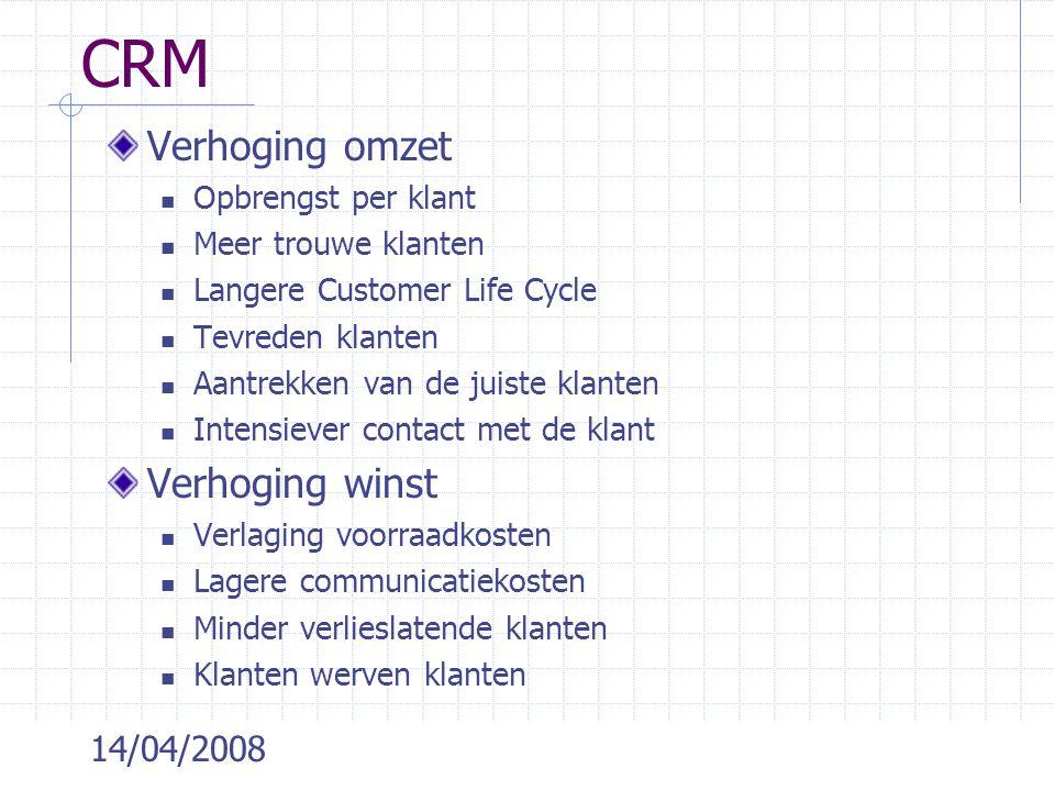 14/04/2008 CRM Verhoging omzet Opbrengst per klant Meer trouwe klanten Langere Customer Life Cycle Tevreden klanten Aantrekken van de juiste klanten I