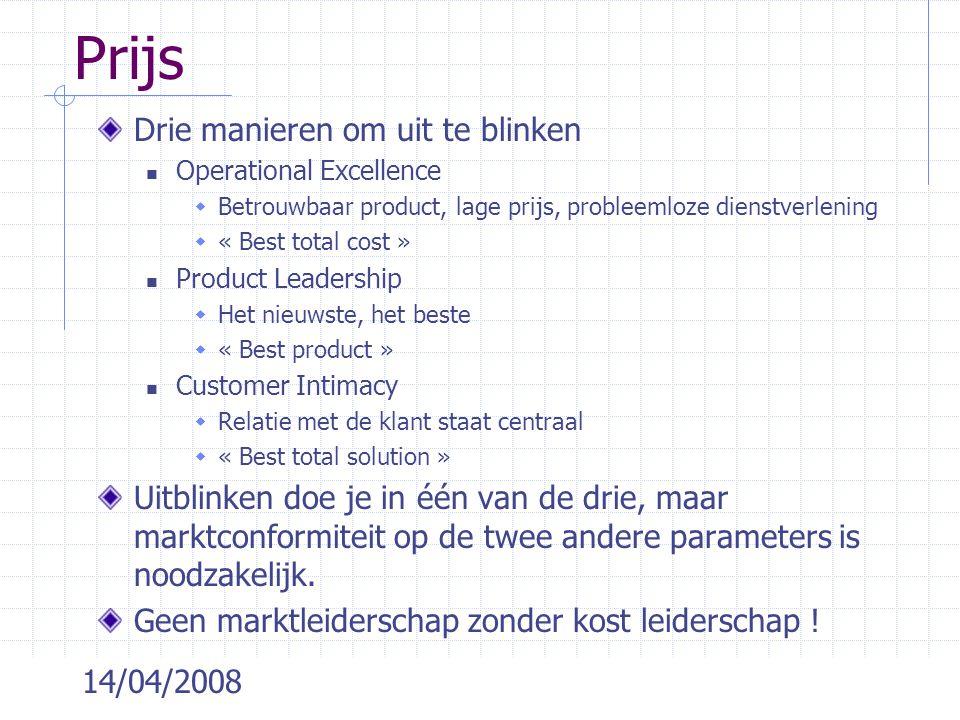 14/04/2008 Prijs Drie manieren om uit te blinken Operational Excellence  Betrouwbaar product, lage prijs, probleemloze dienstverlening  « Best total