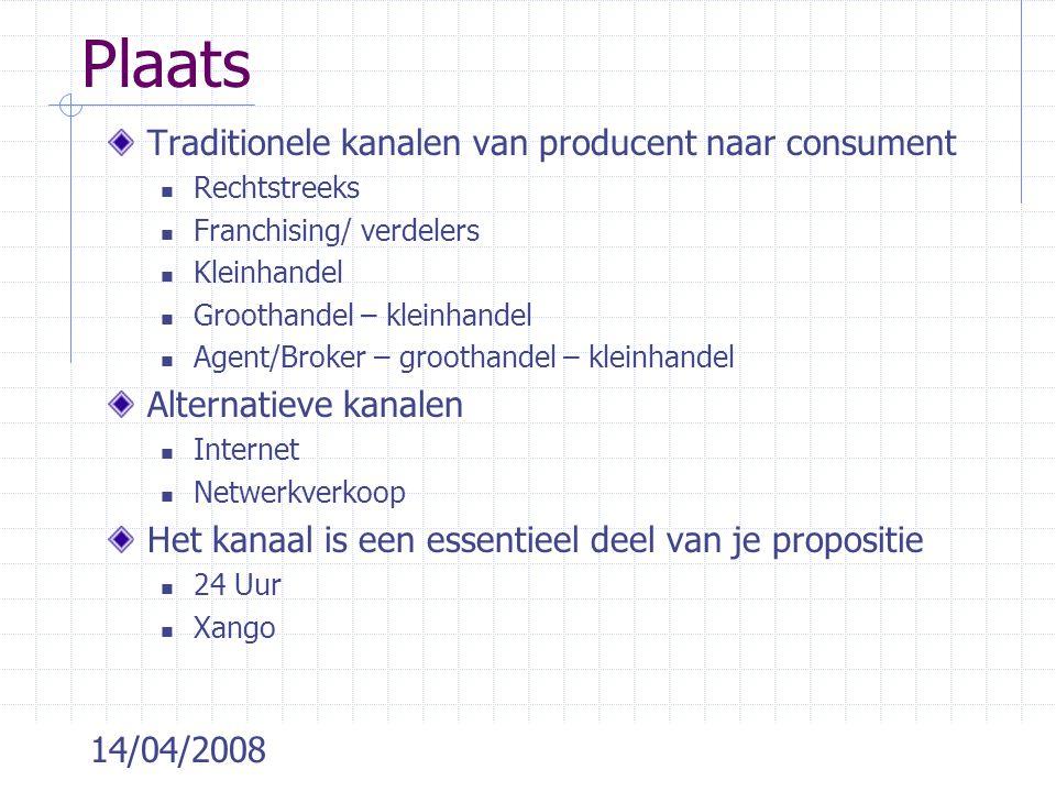 14/04/2008 Plaats Traditionele kanalen van producent naar consument Rechtstreeks Franchising/ verdelers Kleinhandel Groothandel – kleinhandel Agent/Br