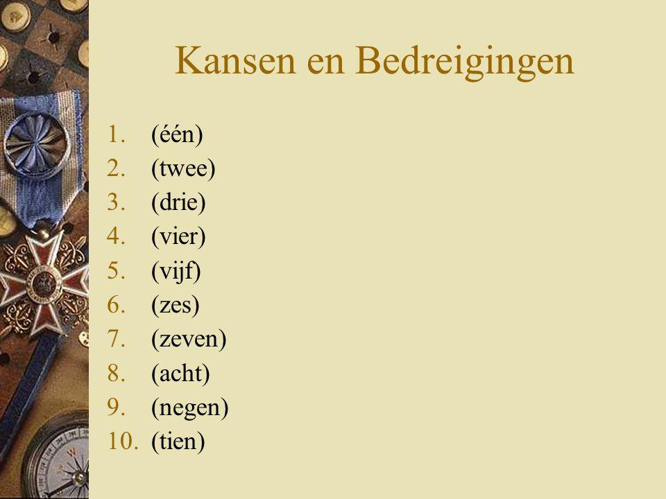 Kansen en Bedreigingen 1.(één) 2.(twee) 3.(drie) 4.(vier) 5.(vijf) 6.(zes) 7.(zeven) 8.(acht) 9.(negen) 10.(tien)