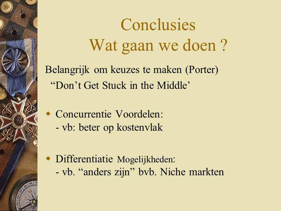 """Conclusies Wat gaan we doen ? Belangrijk om keuzes te maken (Porter) """"Don't Get Stuck in the Middle'  Concurrentie Voordelen: - vb: beter op kostenvl"""