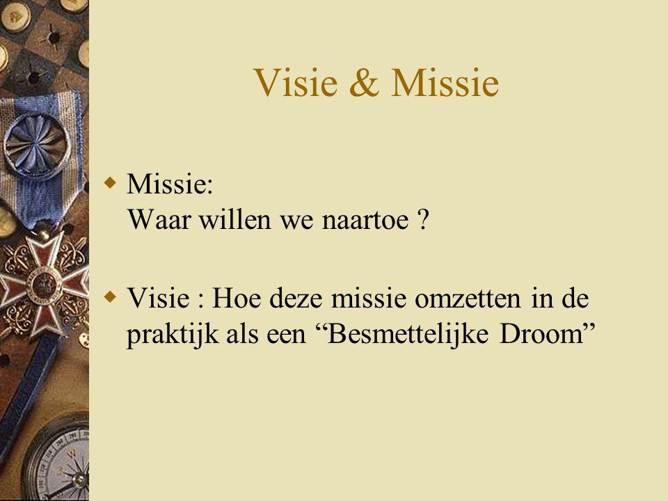 """Visie & Missie  Missie: Waar willen we naartoe ?  Visie : Hoe deze missie omzetten in de praktijk als een """"Besmettelijke Droom"""""""