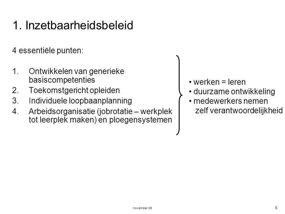 november 08 6 1. Inzetbaarheidsbeleid 4 essentiële punten: 1.Ontwikkelen van generieke basiscompetenties 2.Toekomstgericht opleiden 3.Individuele loop