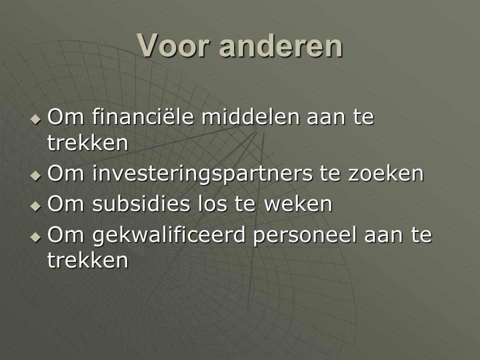 Voor anderen  Om financiële middelen aan te trekken  Om investeringspartners te zoeken  Om subsidies los te weken  Om gekwalificeerd personeel aan