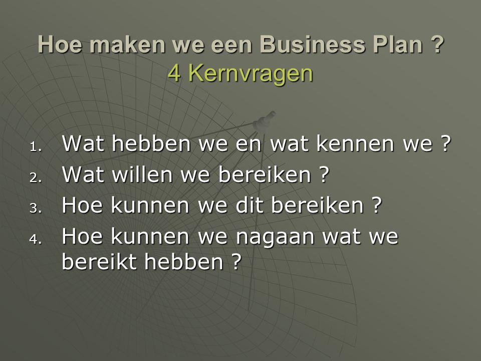 Hoe maken we een Business Plan ? 4 Kernvragen 1. Wat hebben we en wat kennen we ? 2. Wat willen we bereiken ? 3. Hoe kunnen we dit bereiken ? 4. Hoe k