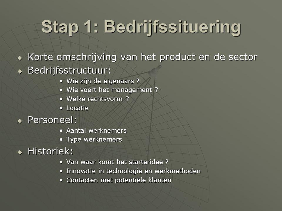 Stap 2: Projectopbouw  Missie  Formuleer in één zin wat het bedrijf wil doen  Doelstellingen  Omschrijf wat U wil bereiken  Objectieven  Kwantificeer Uw doelstellingen  Strategie  Hoe zult U de objectieven realiseren .