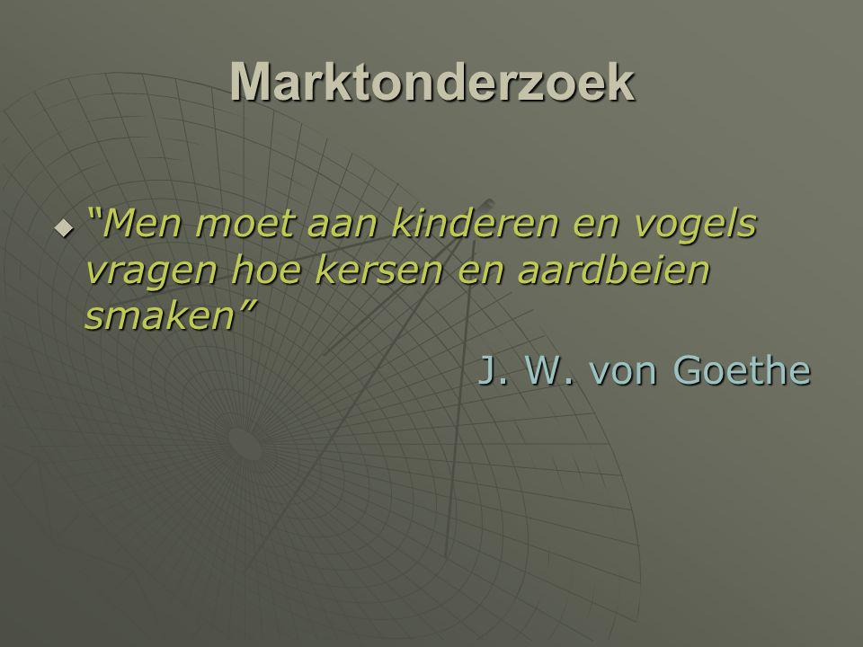 """Marktonderzoek  """"Men moet aan kinderen en vogels vragen hoe kersen en aardbeien smaken"""" J. W. von Goethe"""