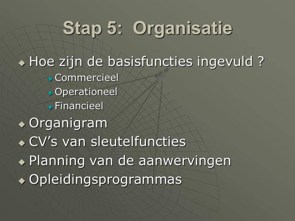 Stap 5: Organisatie  Hoe zijn de basisfuncties ingevuld ?  Commercieel  Operationeel  Financieel  Organigram  CV's van sleutelfuncties  Plannin