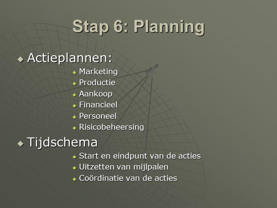 Stap 6: Planning  Actieplannen:  Marketing  Productie  Aankoop  Financieel  Personeel  Risicobeheersing  Tijdschema  Start en eindpunt van de