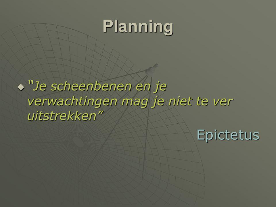 """Planning  """" Je scheenbenen en je verwachtingen mag je niet te ver uitstrekken"""" Epictetus"""